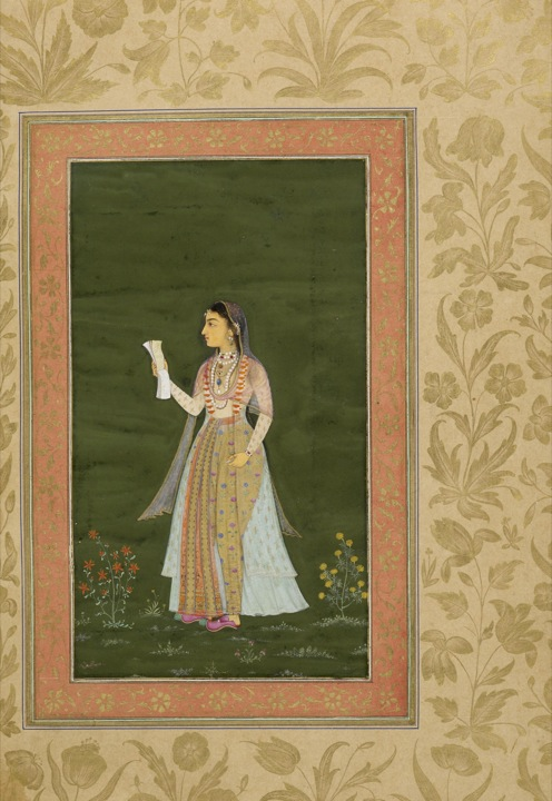 Portrait of a young lady, recentlyidentified as Jahanara and attributed to the painter Lalchand c. 1631-3 (Losty and Roy, p. 132). One of two portraits of the same lady occurring in an album presented in 1051 (1641/42) by Prince Dara Shikoh to his wife Nadira Banu Begum (Add.Or.3129, f. 25v). Images online