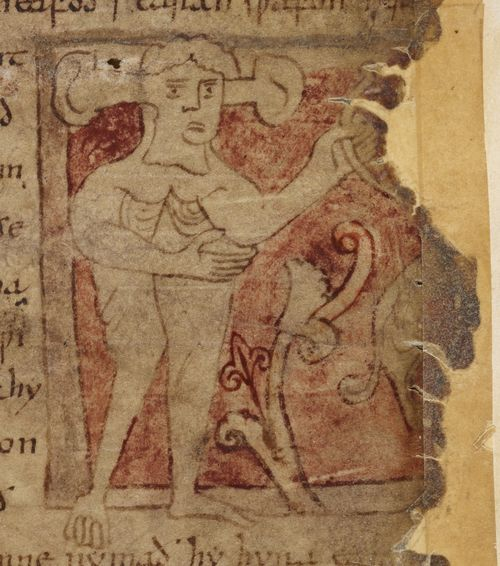 A detail from the Beowulf Manuscript, showing an illustration of the long-eared panotii, accompanying the Marvels of the East.