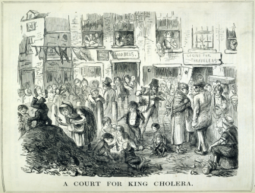 A Court for King Cholera - drawing of poor urban area