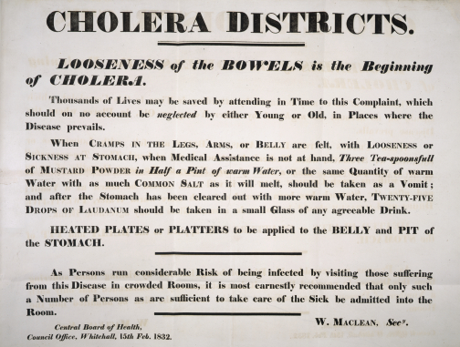 Instructions publicly posted to prevent the spread of cholera 15 February 1832