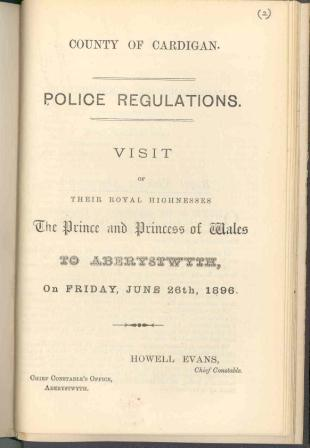 Police regulations for Royal visit to Aberystwyth 1896