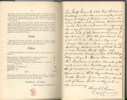 Last two pages of the pamphlet showing handwritten notes signed by Howell Evans