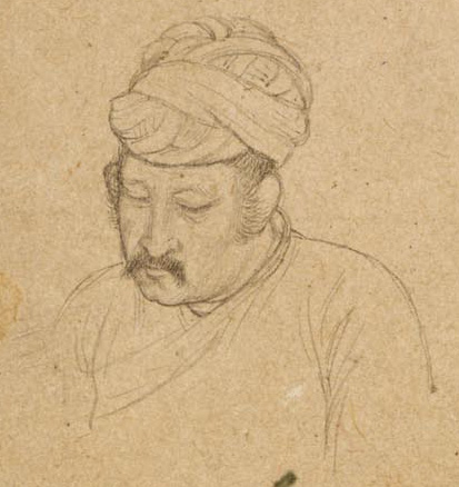 Study of Akbar's head Attributed to Govardhan, 1600-5 British Library, Add.Or.1039