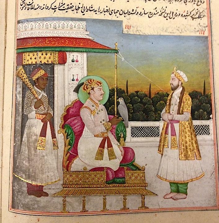 Jahangir seated on his throne. From an early 19th century copy of Jahāngir's memoirs, the Jahāngīrnāmah or Tūzuk-i Jahāngīrī, edited by Muḥammad Hādī (Or.1644, f 11v)