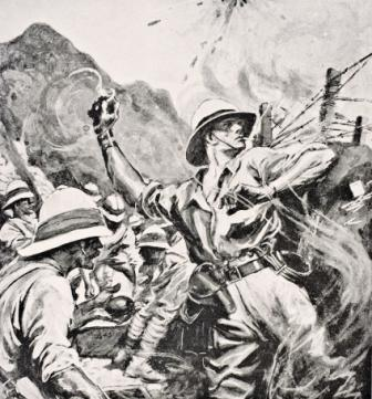 Lt William Thomas Forshaw hurling hand grenades at the enemy