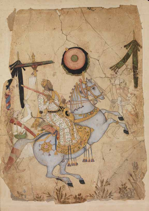British Library, Ikhlas Khan on horseback, Golconda, 1670-80, Add.Or.5723