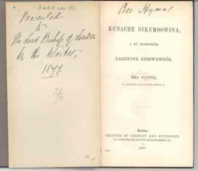Title-page of Kunache Nikumoowina, showing Jean Hunter's inscription