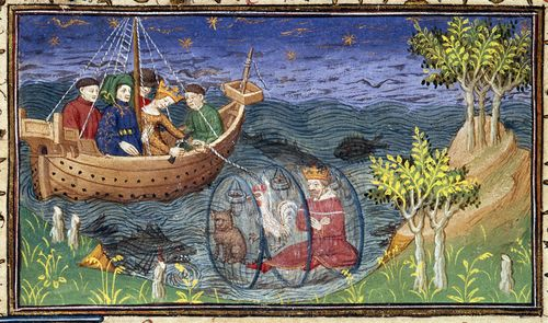 A detail from a 15th-century manuscript, showing an illustration of Alexander exploring the ocean depths with a cat and a cockerel in a glass barrel.