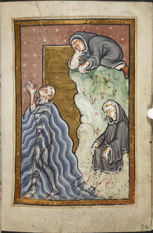 A page from a medieval manuscript, showing an illustration of St Cuthbert performing a miracle in the sea.