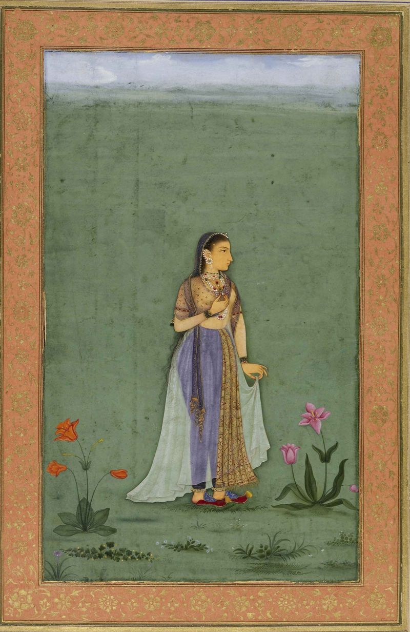 Portrait of Nadira Banu Begum, attributed to Balchand, 1631-2 From the Dara Shikoh Album, British Library, Add.Or.3129, folio 20