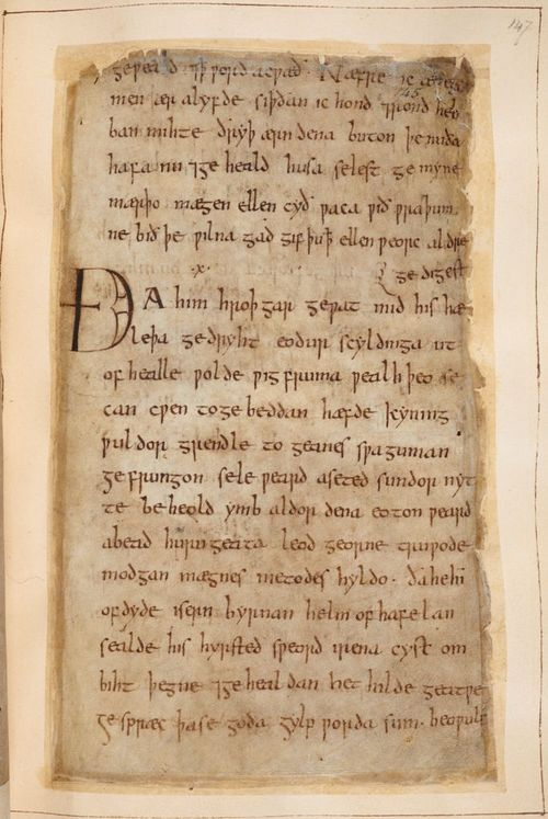 A page from the Beowulf Manuscript, showing the passage in the Old English poem where Beowulf prepares for battle with Grendel.