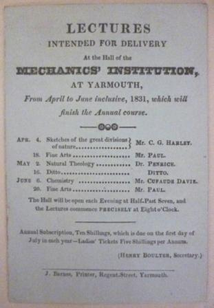List of lectures at Yarmouth's Mechanics' Institution and Scientific Society April to June 1831