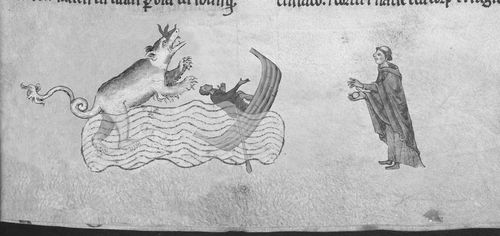 A marginal illustration of the Loch Ness Monster and Walter of Bingham.