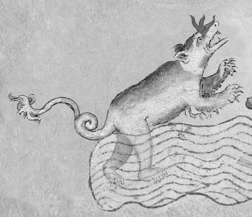 A detail from a medieval manuscript, showing an illustration of the Loch Ness Monster.