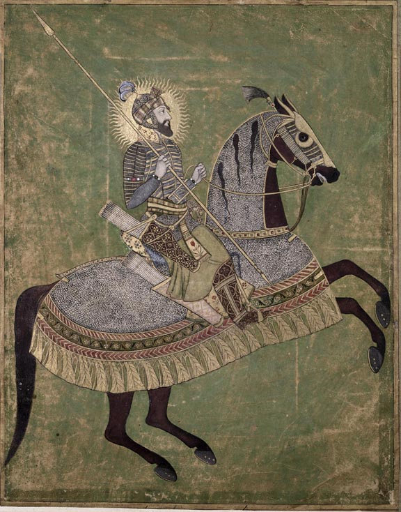 British Library, Aurangzeb on a Rearing Horse, Mughal c. 1660-70, Johnson Album 3, no. 4