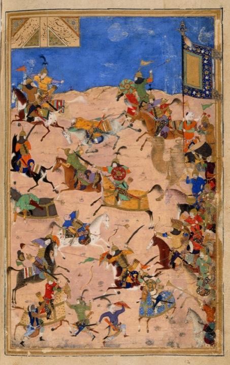 Battle between Iskandar and Dara, ascribed to Bihzad, from the Iskandarnāmah (Add.25900, f.231v)