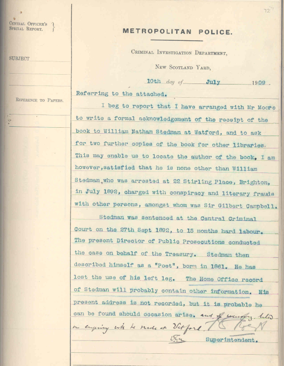 Police report on William Nathan Stedman