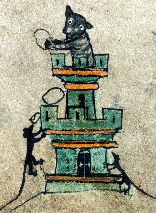 A detail from a 14th-century Book of Hours, showing an illustration of mice besieging a castle defended by a cat.