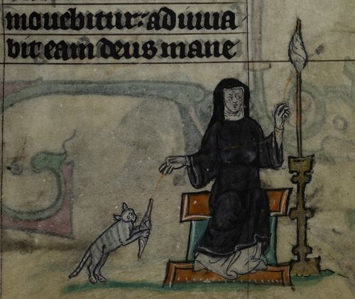 A detail from the Maastricht Hours, showing an illustration of a nun spinning and a cat playing with a spindle beside her.