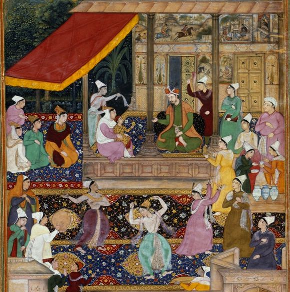 Akbar is re-united with his mother after an absence of two years. This scene, from the Akbarnāmah, takes place in the women's quarters. One of the ladies is almost certainly Gulbadan (Or.12988, f. 114r)