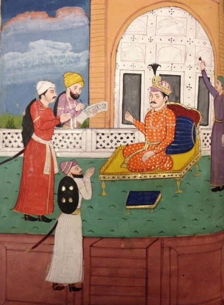 This painting from a 19th century copy of the Akbarnāmah shows Abū'l-Fażl, in the presence of Akbar, drafting the order (farmān) which established a new 'Divine Era'. This solar calendar dated from 1556, the beginning of Akbar's reign, and used the traditional pre-Islamic (Zoroastrian) Persian day and month names. It also introduced 14 festivals corresponding to the Zoroastrian feasts (Add.26203, ff 162v-163)