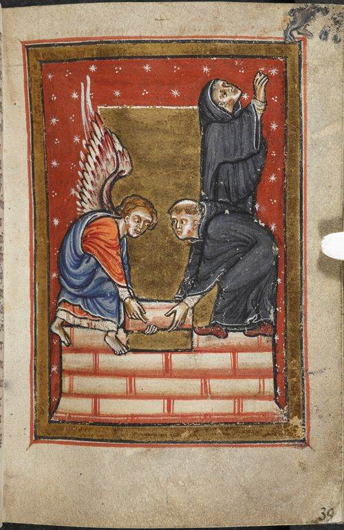 A page from a medieval manuscript, showing an illustration of St Cuthbert building a hermitage.