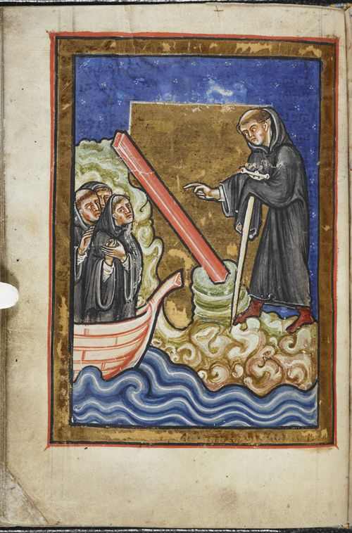 A page from a medieval manuscript, showing an illustration of St Cuthbert discovering a roof beam for his church.