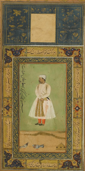 Portrait of Zayn Khan Kokah (c.1542–1601), Governor of Kabul. This portrait dating from around 1595 has been extended in the 17th century by the addition of some pigeons and a dovecote to make it a standard size to fit into an album (Johnson Album 18, 18)