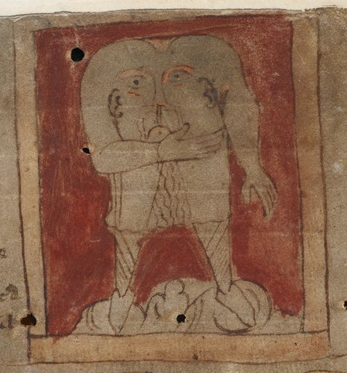 A detail from the Beowulf Manuscript, showing an illustration of a blemmya, accompanying the Marvels of the East.