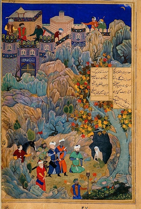 Iskandar visits the wise man in the cave (Or.6810, f. 273r)