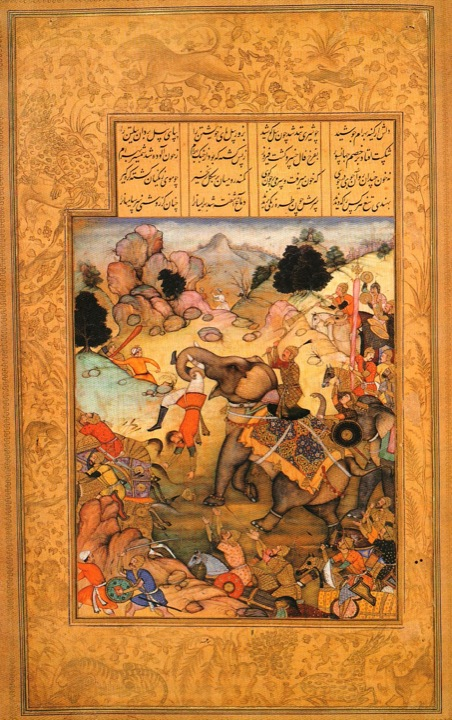 Khusraw defeats Bahrām Chūbīn, from Khusraw u Shīrīn in Niẓāmī 's Khamsah. Illustrated by Manohar (fl c. 1580–1620) (Or.12208, f. 72r)