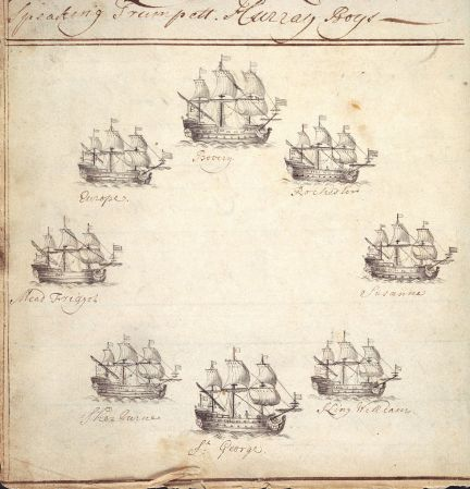 Drawing of East India Company ships from journal of the Rochester