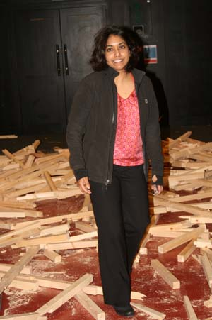 Lead Curator - Malini Roy - in the gallery after all the exhibits were removed and the towers came down!By Janet Benoy