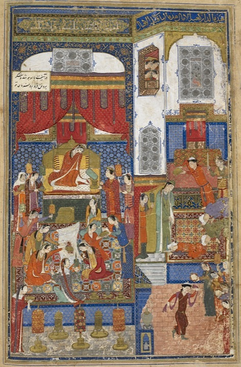 From the Kulliyat of Khvaju Kirmani, copied in 1396. In this painting, by the artist Junayd Naqqash Sultani (his name is inscribed in an architectural block above the bed), Humay has gold coins poured on him as he leaves Humayun's room, the day after their wedding (Add.18113. f.45v). Find this online
