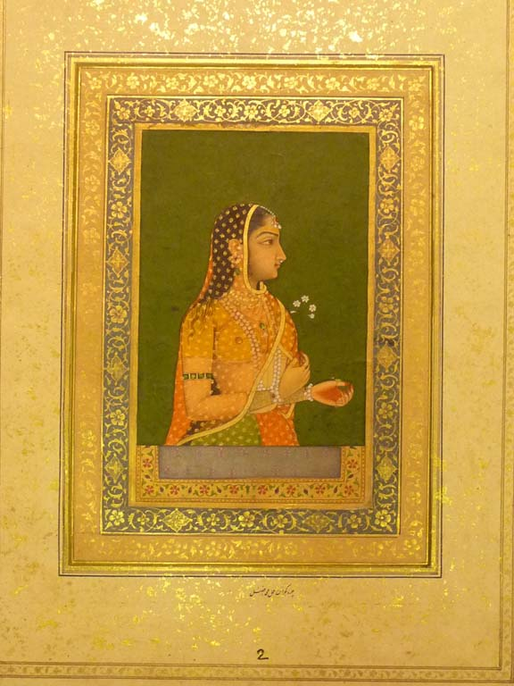 Portrait of a lady at the jharoka Ascribed to Muhammad Afzal, c. 1740 British Library, Johnson Album 11,2