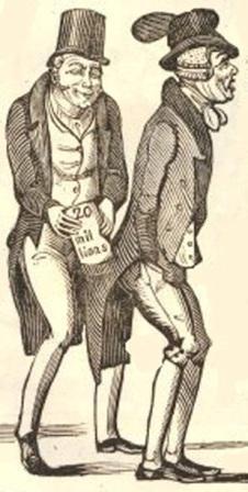 Cartoon of a Whig politician slipping £20 million out of John Bull's pocket