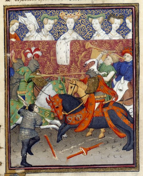 An illustration of a tournament scene, from Christine de Pizan's The Book of the Queen.