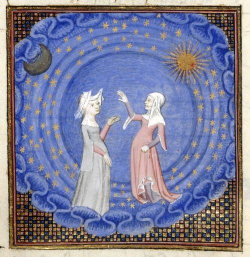 An illustration of Christine and the Sibyl, from Christine de Pizan's The Book of the Queen.