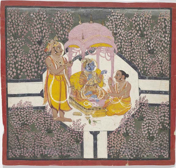 Rao Arjun Singh worshipping Sri Brijnathji in a rose garden(BL Add.Or.5722) Kotah (India), 1720-25 Opaque watercolour and gold on paper Painting: 30.5 x 32.5 cm