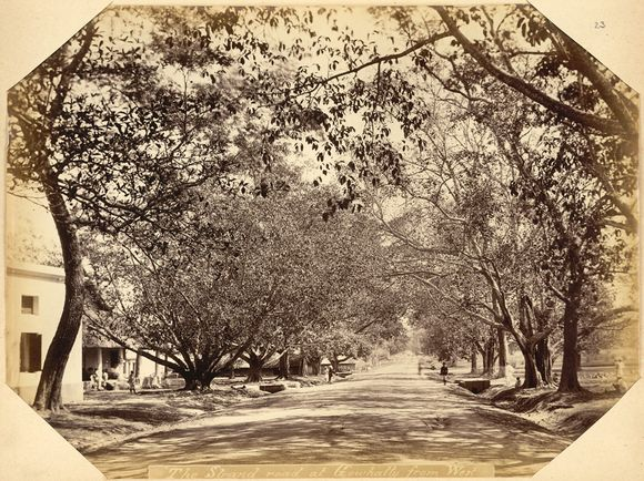 Strand Road in Gauhati (Guwahati), an administrative centre and seat of many Deodhai in the former Ahom Kingdom. Photo by Oscar Jean Baptiste Mallitte, 1860. (Photo 913/23)
