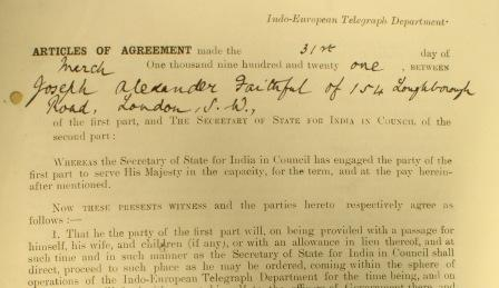 Articles of Agreement between Joseph Alexander Faithful and the Secretary of State for India