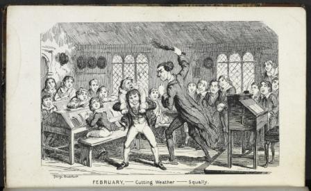 Schoolroom with master hitting boy