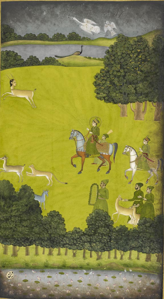 Prince Gauhar on a hunting expedition, by Govardhan II, 1734-9 British Library, Johnson Album 38, f.29v