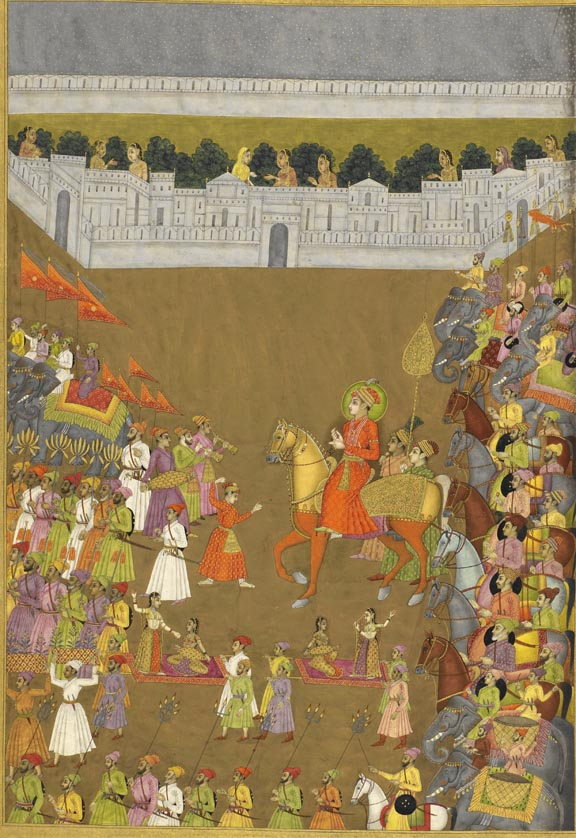Marriage procession of Prince Gauhar, by Govardhan II, 1734-9 British Library, Johnson Album 38, f.105v