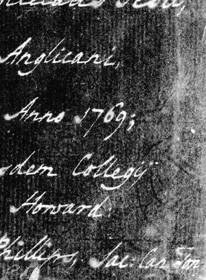 The same image, but with the colours reversed. The cream paper is now grey and black and the dark brown writing is shown in white. The watermark is shown in faint black lines.