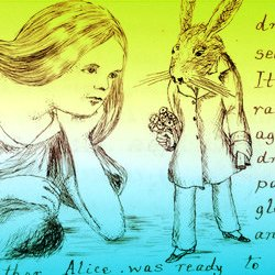 A close up image from Alice's Adventures Under Ground. A line drawing of Alice with long unbound hair, is lying, head resting in one palm, while a Rabbit in a coat trousers & shoes, walks past her, bearing a bouquet of flowers. There is writing from the text visible along the right and below the image.