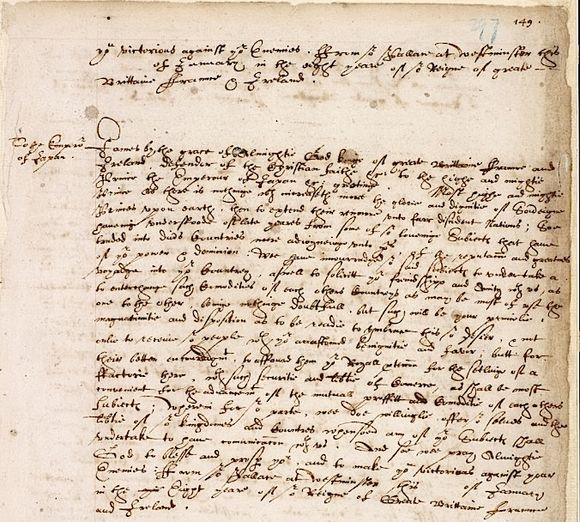 Letter from King James I of England to the 'Emperor' of Japan, 1611 (IOR/B/2 f.149)