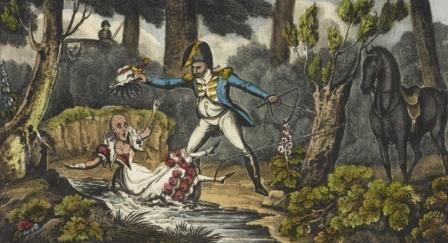 Woman sitting in a stream with a man in uniform snatching her bonnet and wig, revealing a bald head