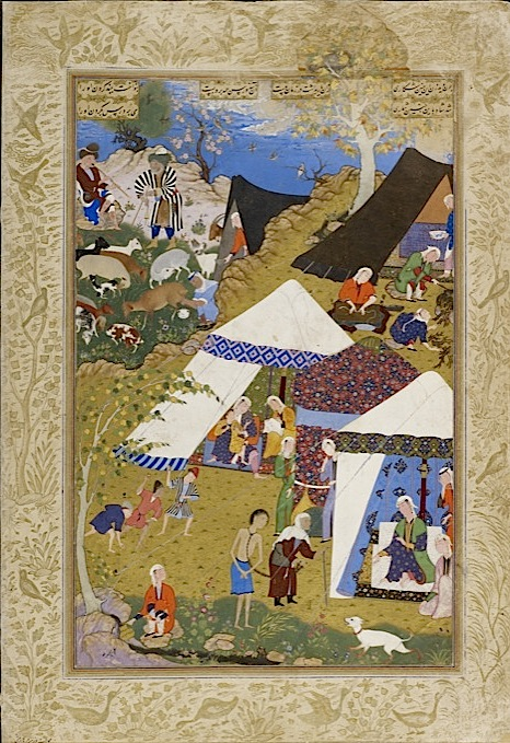 Majnun is brought in chains to Layla's tent. From Nizami's Layla Majnun. Painted by the 16th-century Safavid court artist Mir Sayyid ?Ali  (Or.2265, f. 157v). Find this online