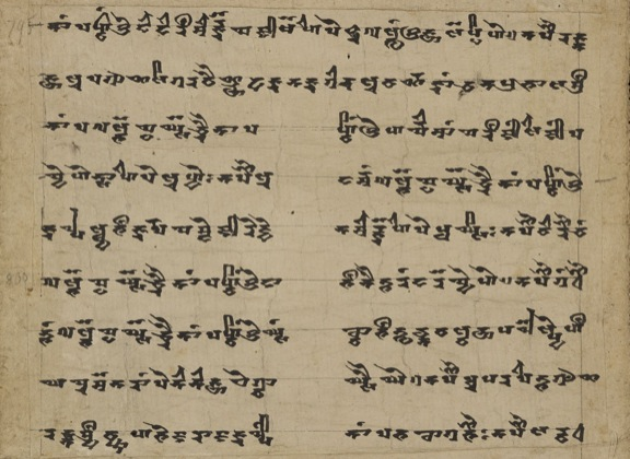 Lines 795-803 of Ch.c.001 (IOL Khot S 46), part of a confession text written in calligraphic formal Brahmi script. 10th century. Image from IDP